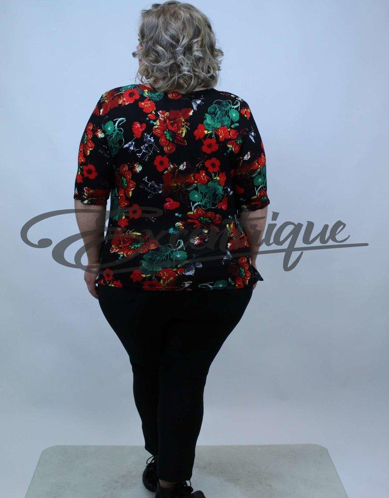 """NewJersey - Shirt """"Donna"""" - Zwart Rode Klaproos :"""