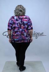 """NewJersey - Shirt """"Donna"""" - Paars Marine Blok :"""