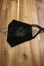 Mondkapje Fashionable - Zwart, Strass Dubbele Zwaan :