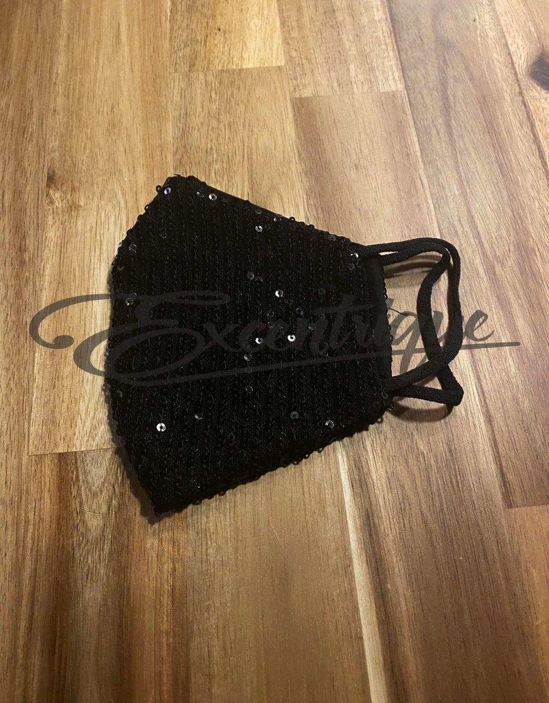 Mondkapje Fashionable - Zwart Pailletten, Zwarte Voering :