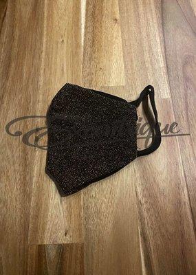 Mondkapje Fashionable - Zwart, Goud Glitter :