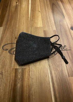 Mondkapje Fashionable - Zwart, Zilver Glitter :