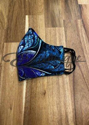 Mondkapje Deluxe Viscose Stof - Blauw Groen Tinten :