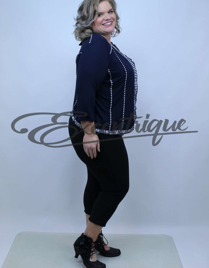 "NewJersey - TwinSet ""Bella"" (Vest&Top) - Zwart / MarineWit Streep :"