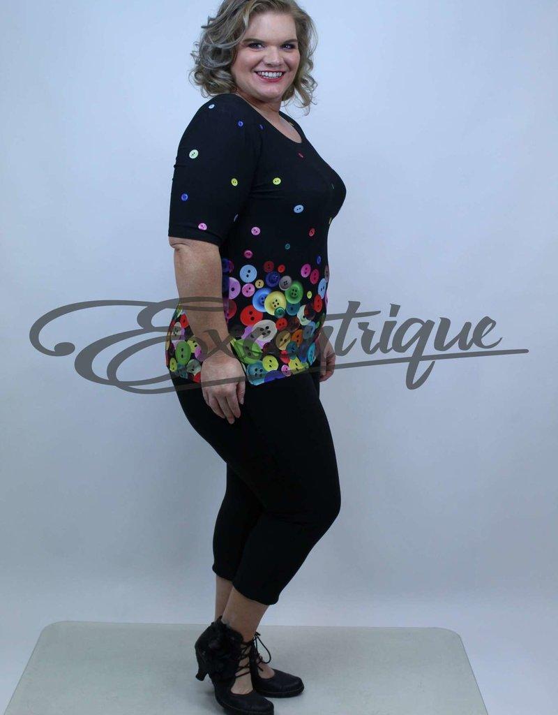 """NewJersey - Shirt """"Donna"""" - Zwart Bonte Knoop :"""