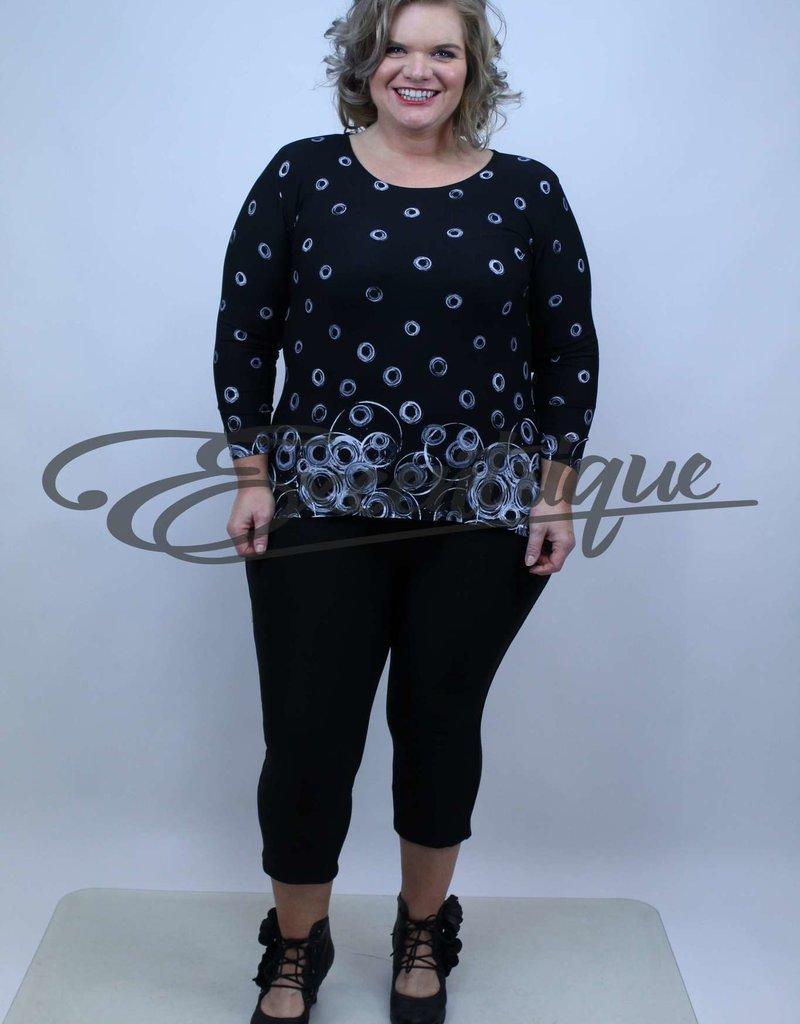 """NewJersey - Shirt """"Donna"""" - Zwart Grijze Cirkels :"""