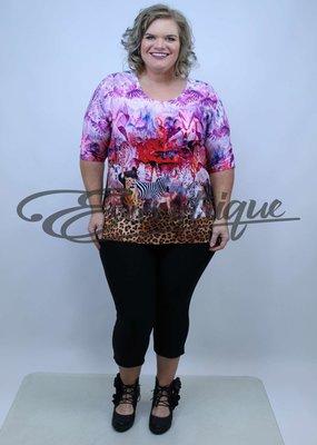 "NewJersey - Shirt ""Donna"" - Rose Rood Safari Print :"