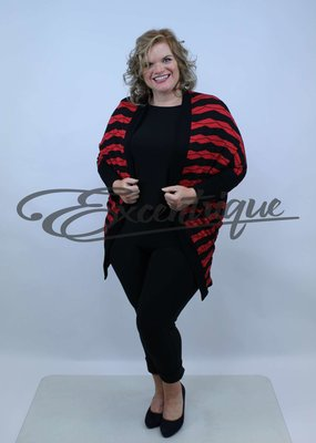 "NewJersey - Vest ""Mila"" - Rood Zwart Streep :"