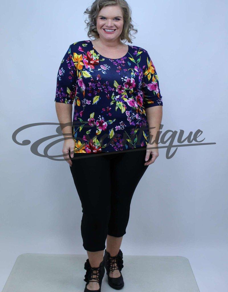 "NewJersey - Shirt ""Donna"" - Marine Bonte Bloemen :"