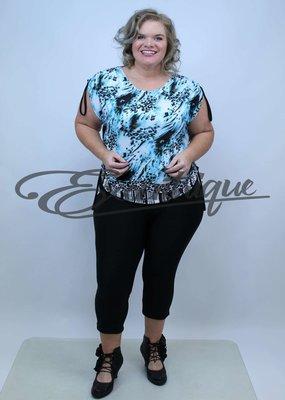 "NewJersey - Top ""Tina"" - Blauw Luipaard Print :"