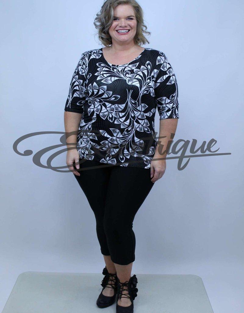 """NewJersey - Shirt """"Donna"""" - Zwart Wit Bloemen :"""