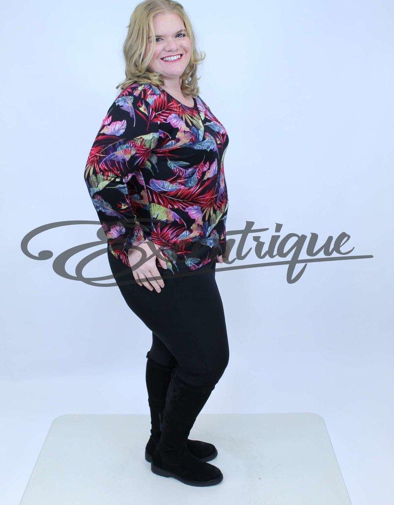 """NewJersey - Shirt """"Donna"""" - Zwart Rose Bont Blad :"""