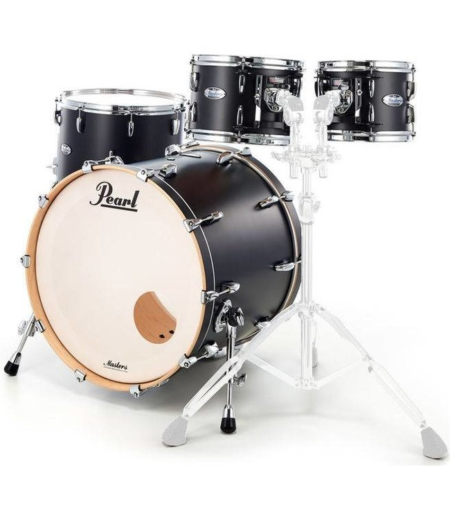 Pearl MCT924XEP_C339  Masters Maple Matte Caviar Black 4-piece Shellset demo kit