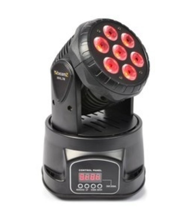 Beamz MHL74 Mini Moving Head Wash 7x 10 watt quad led DMX 12 channel 150.518