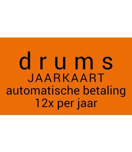 Henk Busscher Drumlessen maandkaart 30minuten wekelijks  auto incasso 12x per jaar kids & jongeren JK12M30drs