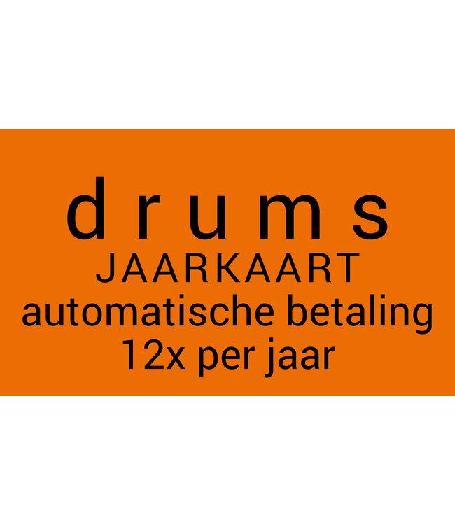 Busscherdrums Drumlessen JAARKAART12x per jaar jongeren 30 minuten wekelijks 10333