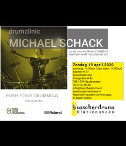 Busscherdrums Zugangskarte Trommelklinik Michael Schack Roland VAD506 Push Your Drumming-Datum wurde verschoben