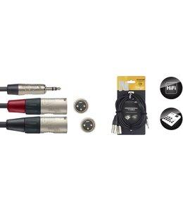 Stagg NYC3/MPS2XMR kabel Y kabel 2x XLR - 1x 3.5m mini stereo jack 3 meter