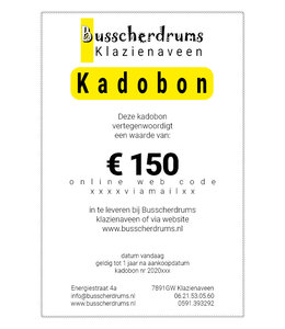 Busscherdrums Gift voucher € 150, -