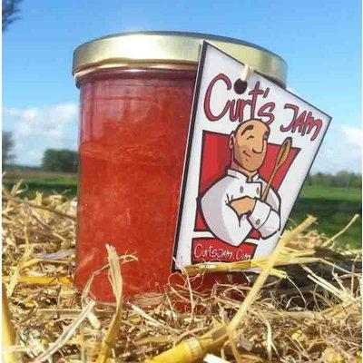 Verse Belgische handgemaakte aardbeienconfituur met rabarber en krieken - 200 ml