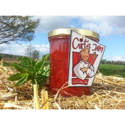 Fresh Belgian handmade strawberry jam with fresh mint leaves 200 ml
