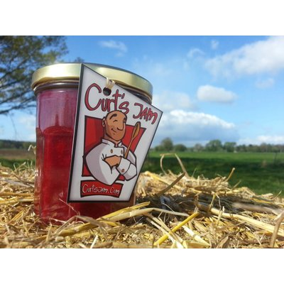 Fresh Belgian handmade cherry strawberry rhubarb jam without sugar - 200 ml