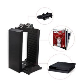 Gadget Dojo Multifunctionele Console Stand, Game Disc Tower en Duo Charger oplader voor PS4