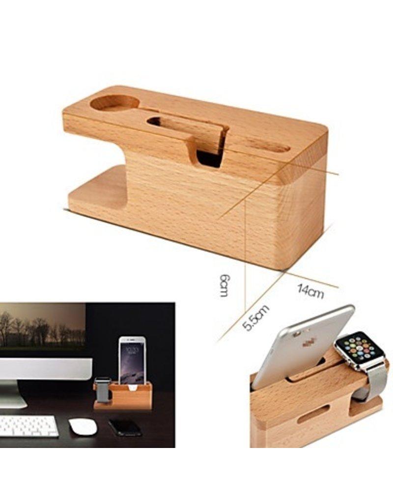 Gadget Dojo Bambus-Holz-Docking-Station-Dock für Apple Watch und iPhone
