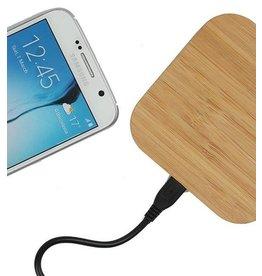 Gadget Dojo Universele Houten Wireless Plate Draadloze Oplader Oplaad Pad Vierkant