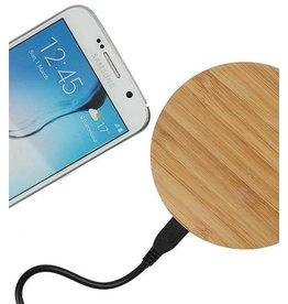 Gadget Dojo Universele Houten Wireless Plate Draadloze Oplader Oplaad Pad Rond