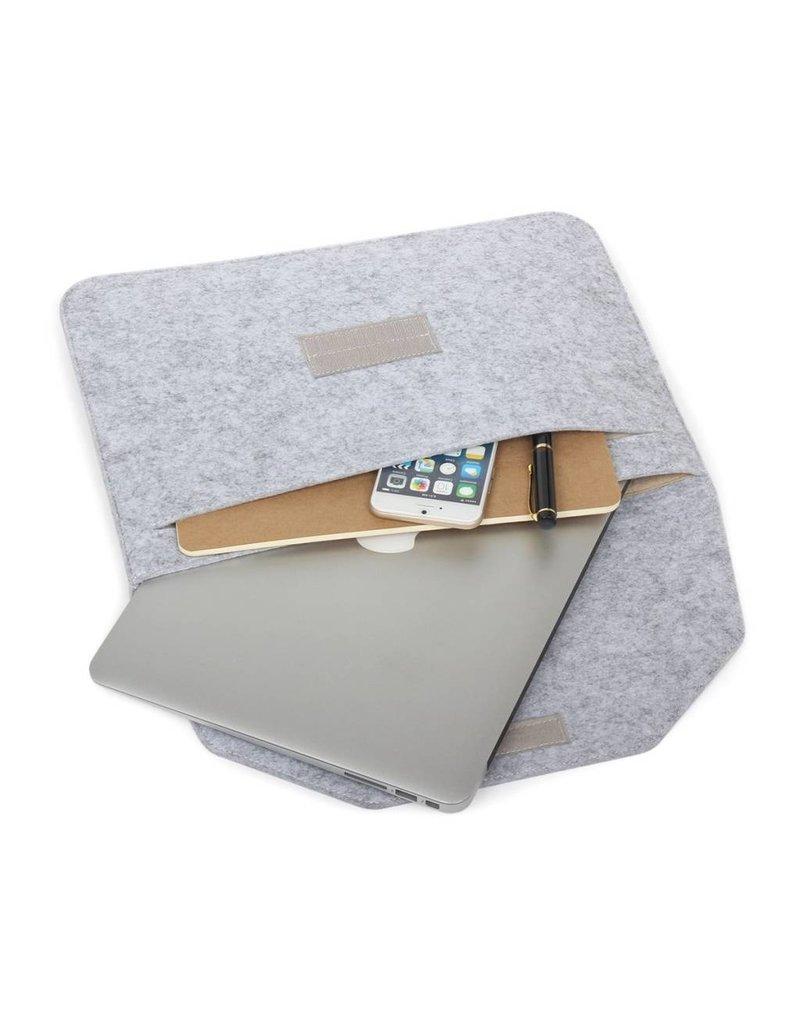 Geeek 11 en 12 inch Macbook Laptop Soft Sleeve Case Grijs