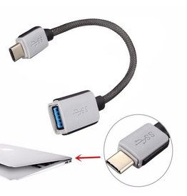 Gadget Dojo USB-C Kabel 0,20 meter Adapterkabel USB-C Male / USB-A Female Heavy Duty Nylon
