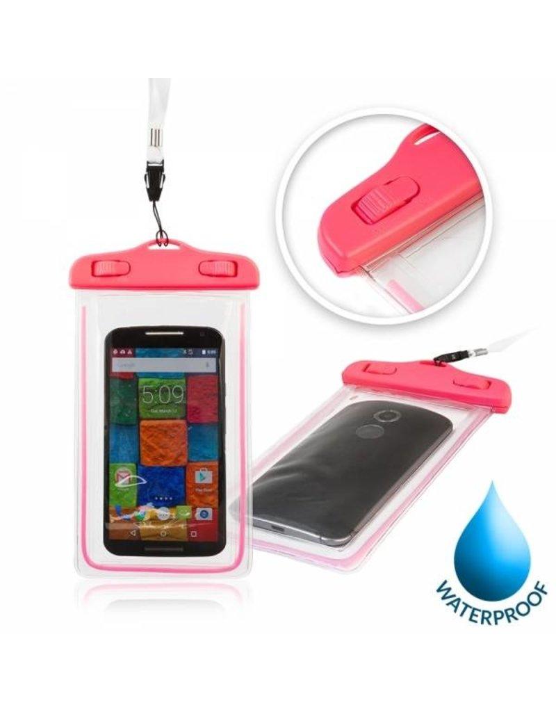 """Geeek Glow Waterdichte Waterproof Case 4.8 - 5.5 """" 175x105mm Roze"""