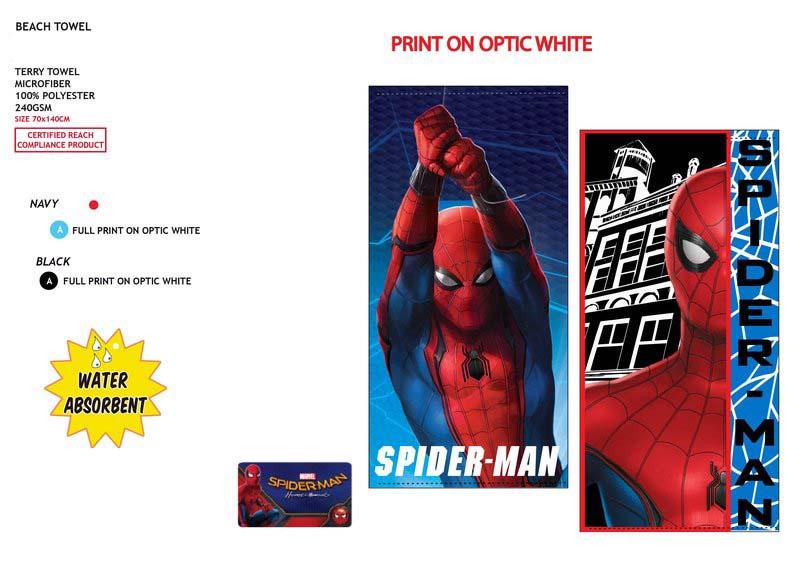 Spiderman Strandlaken Microfiber Handdoek - 70 x 140 cm - 240gr/ m2 Donkerblauw