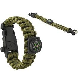 Gadget Dojo Paracord Armband Army Green 5-in-1 Tool Survival Outdoor Actief Lichtgewicht Waterdicht