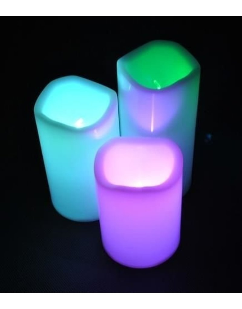 LED Kaarsen Multi-Color Verlichting - Set 3 stuks - incl. Afstandsbediening