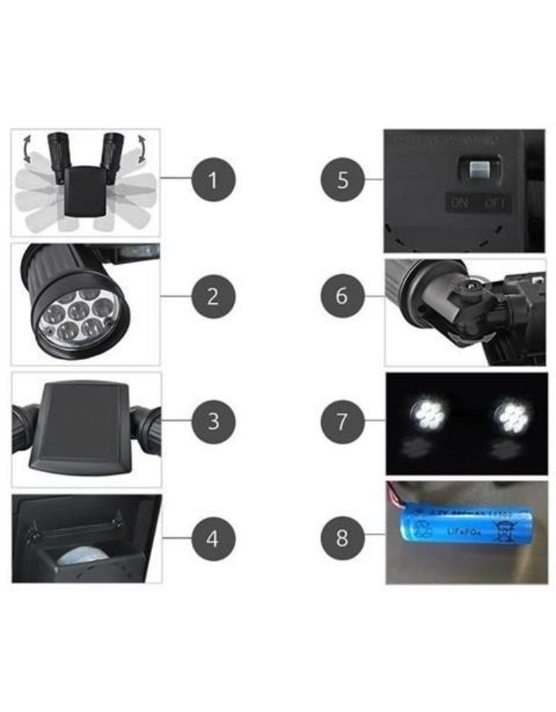LED Solar Außenbeleuchtung Strahler Duo Spot Outdoor mit Bewegungsmelder