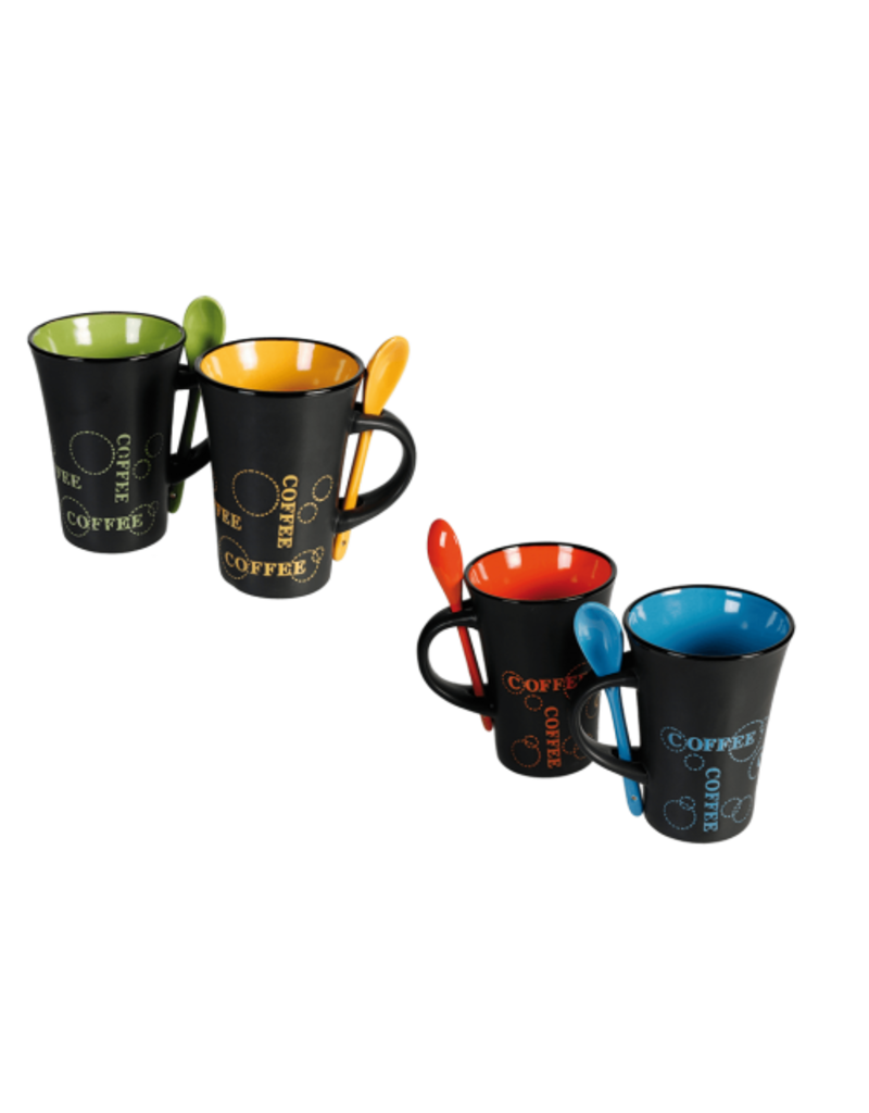 Out of the Blue Set von vier Kaffeetassen mit Löffeln