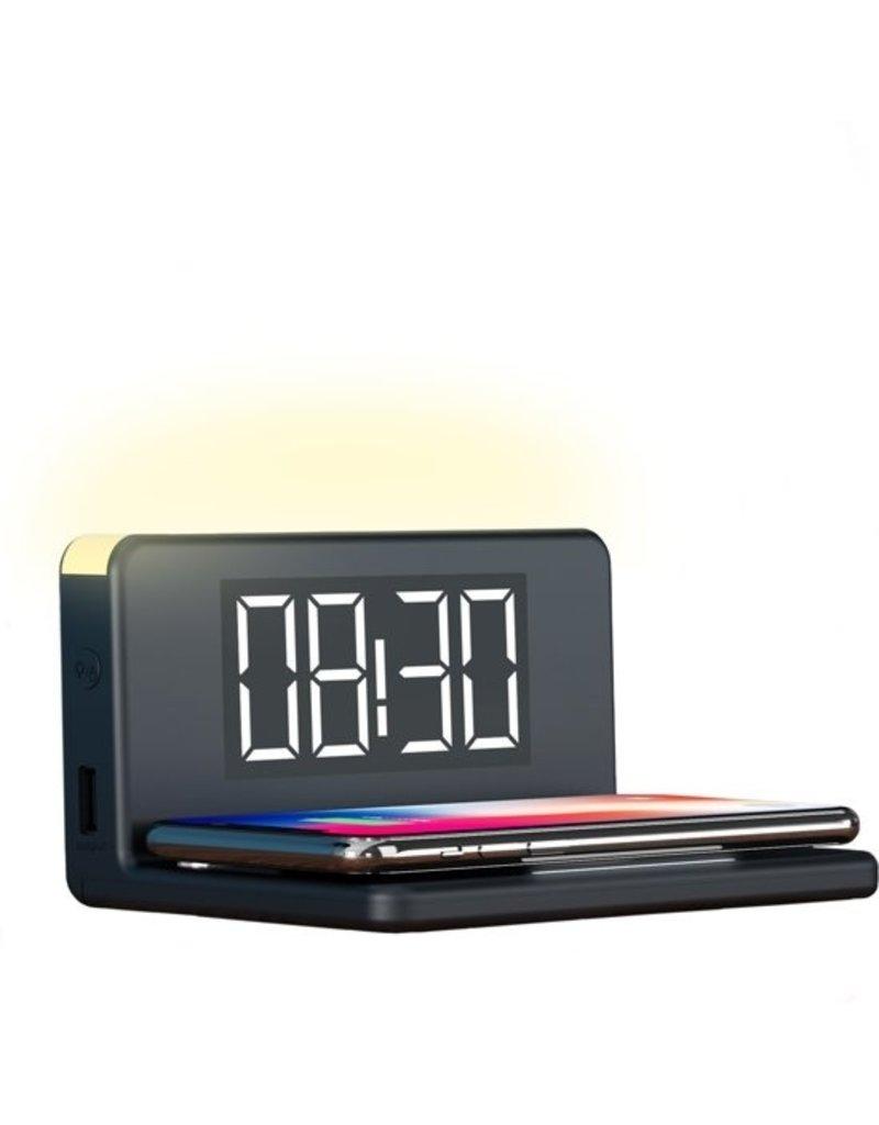 Drahtloses Qi-Ladegerät Schnellladegerät und Wecker - Wecker mit Beleuchtung 10W - Schwarz