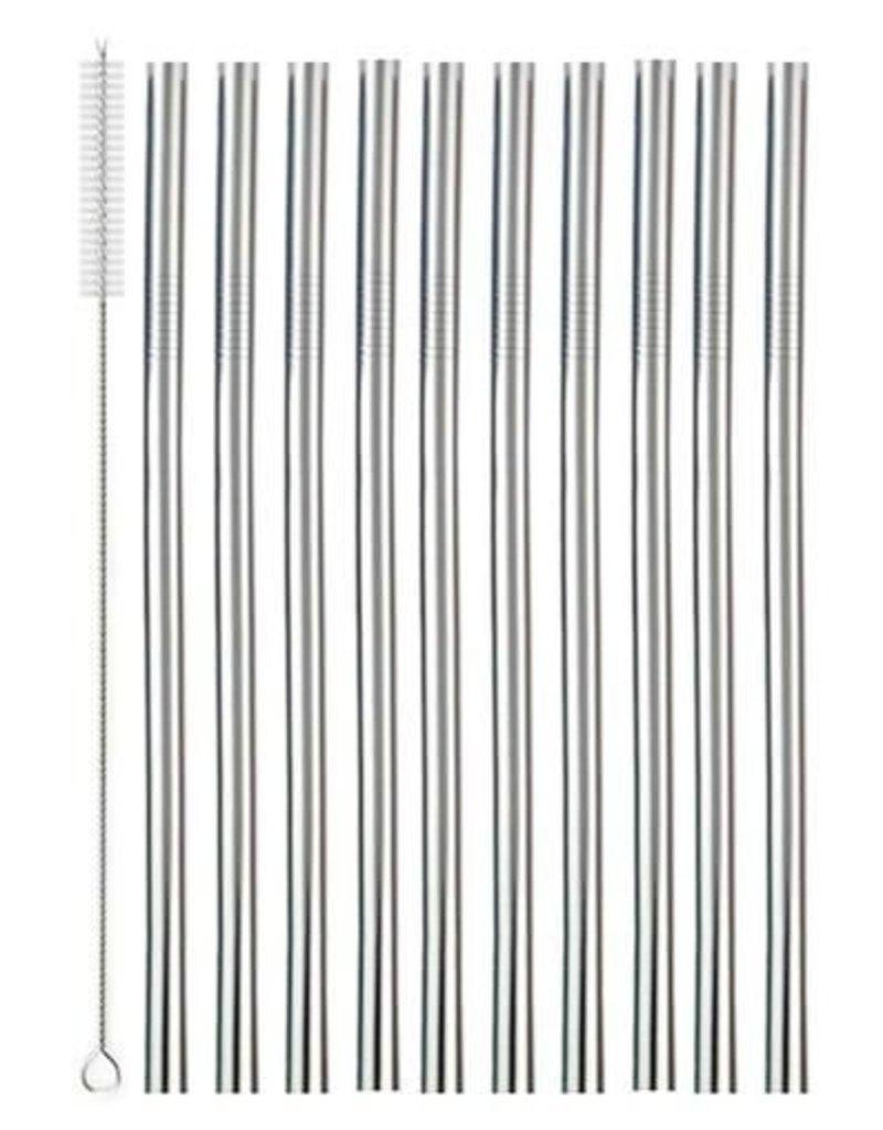 Metalen RVS Drinkrietjes Set 10 stuks - Herbruikbaar inclusief Schoonmaakborstel