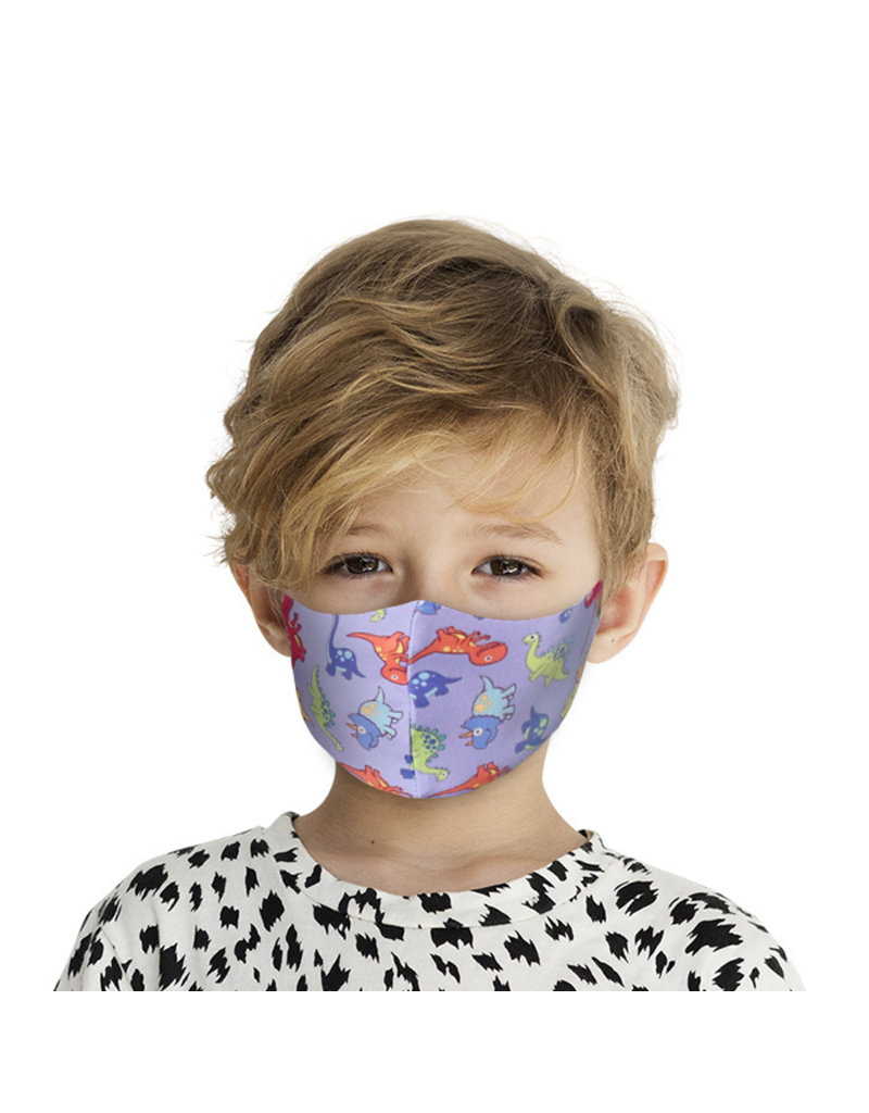 Mondkapje Kids met Zilverionen - Dino | Mond Neus Masker | Mondmasker