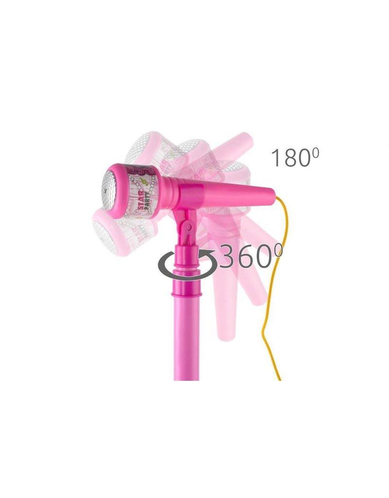 Kindermicrofoon op statief – Speelgoedmicrofoon op standaard – Roze