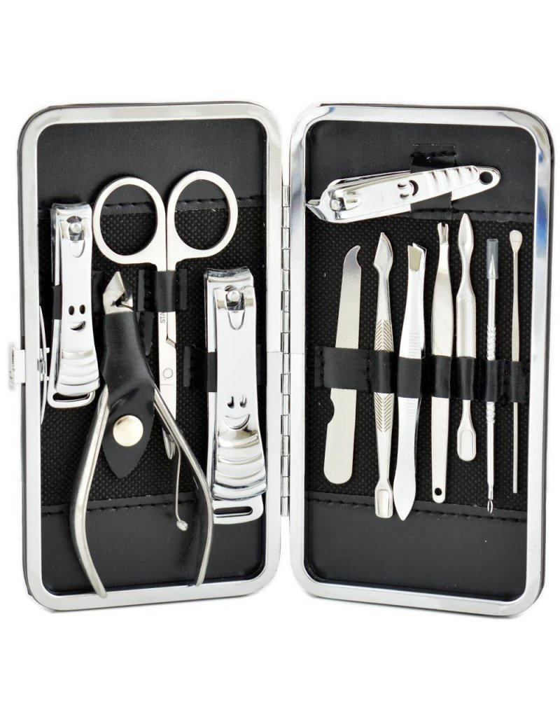 Luxe manicure set in etui 12-delig - Persoonlijke verzorging - Manicuresets nagelverzorging - Reisset