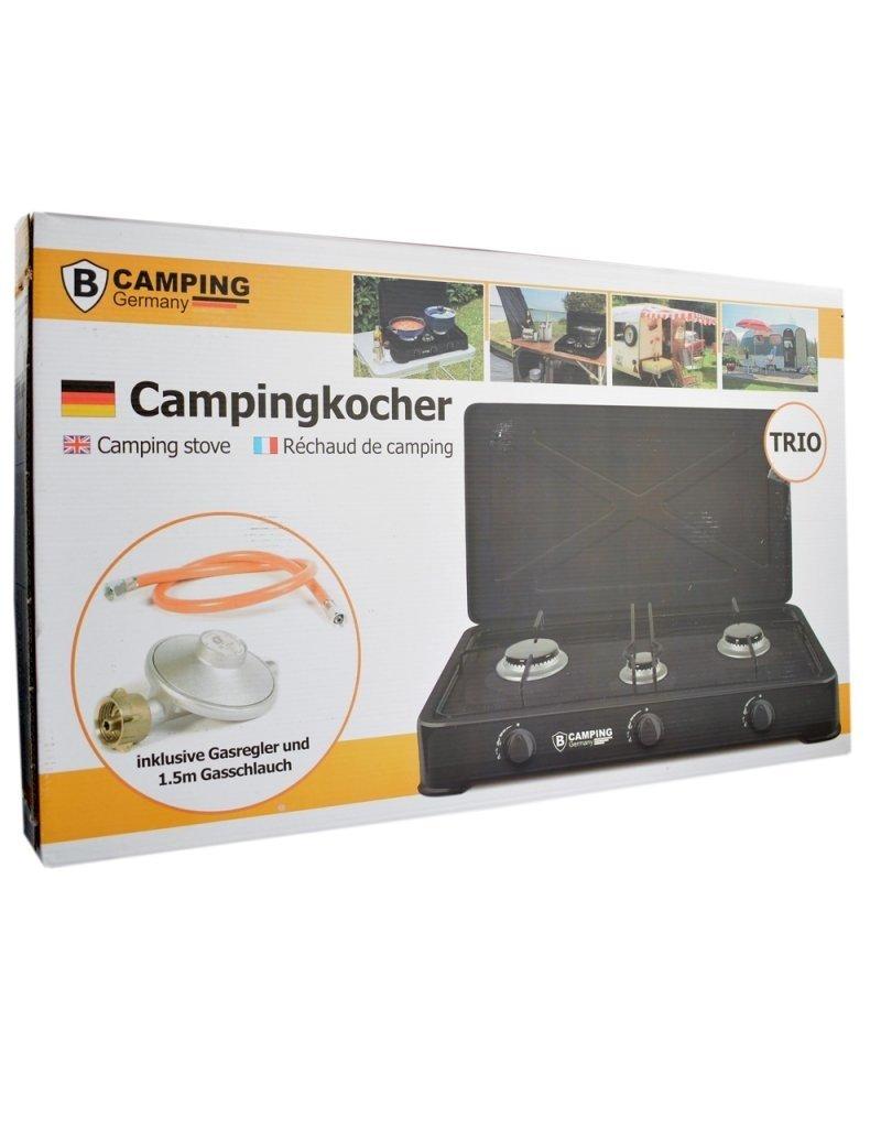 Camping Gaskocher Trio - Tragbarer Gasherd - 3-Flammen-Herd - Außenherd - Butangas