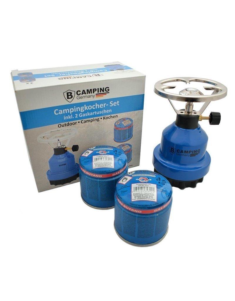 Campingbrander metaal - Camping Gaskoker met 2 x gaspatronen 190g set / bundel