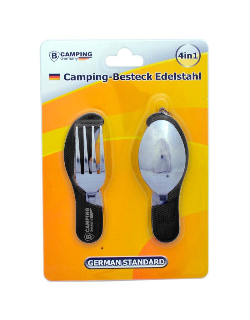4-in-1 Inklapbaar Camping Bestek - Vork / Lepel / Mes / Flesopener - Roestvrij staal - Survival Bestek