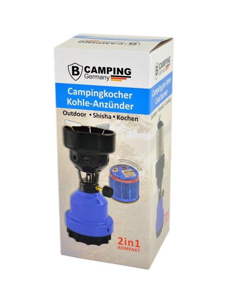 2-in-1-Camping-Gasbrenner - Camping-Gasherd - Gas-Kohlebrenner - Blau