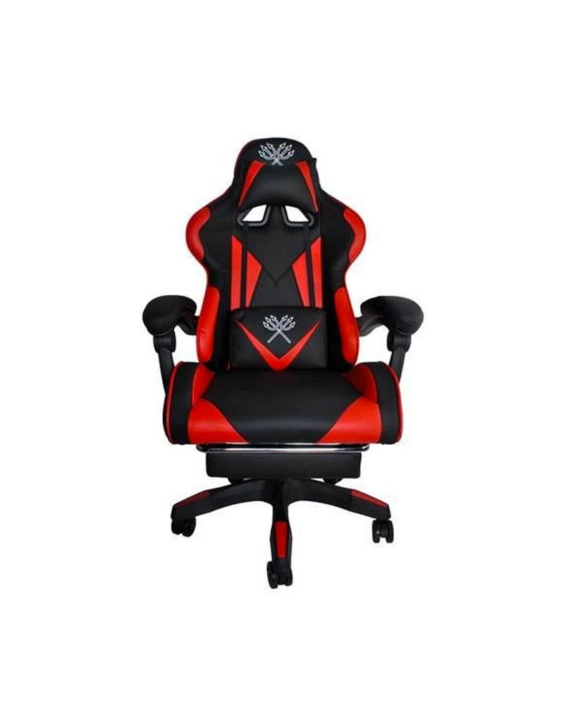 Deluxe Game Stoel Zwart/Rood - Gaming Stoel - Gaming Bureaustoel - Verstelbaar Kussen - Uitschuifbare Voetensteun