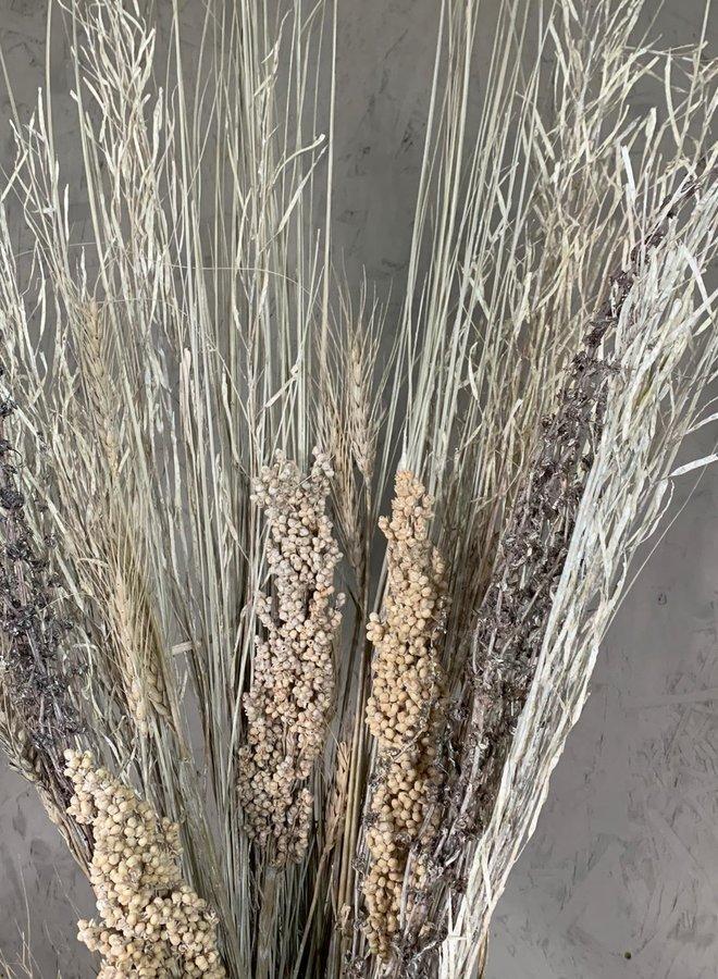 Droogbloemen boeket white mix