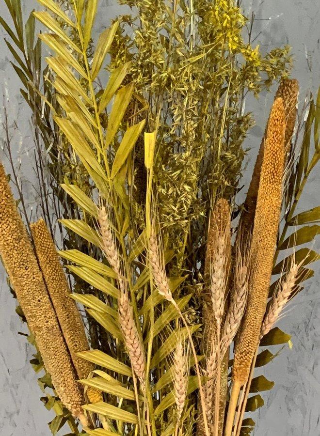 Droogbloemen boeket goud mix
